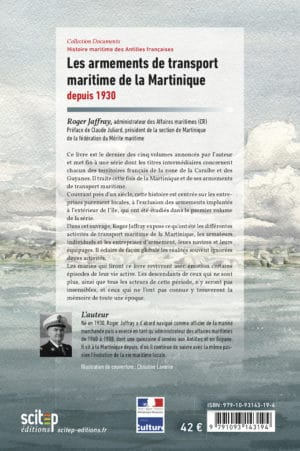 4e de couverture livre Armements de transport maritime de la Martinique Roger Jaffray Scitep éditions